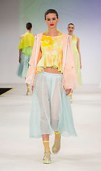© Licensed to London News Pictures. 01/06/2015. London, UK. Collection by Sarah Bimpson. Fashion show of the Manchester School of Art at Graduate Fashion Week 2015. Graduate Fashion Week takes place from 30 May to 2 June 2015 at the Old Truman Brewery, Brick Lane. Photo credit : Bettina Strenske/LNP