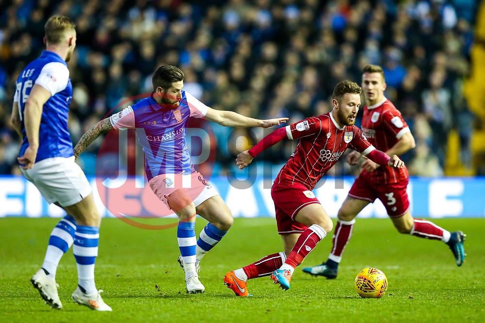 Matt Taylor of Bristol City is challenged by Jacob Butterfield of Sheffield Wednesday - Rogan/JMP - 18/11/2017 - Hillsborough Stadium - Sheffield, England - Sheffield Wednesday v Bristol City - Sky Bet Championship.