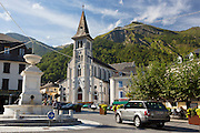Ski resort town of Laruns in the Pyrenees National Park, France