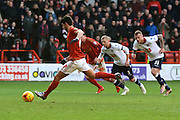 Nottingham Forest striker Nelson Castro Oliveira  scores a penalty during Forest and Bolton Wanderers at the City Ground, Nottingham, England on 16 January 2016. Photo by Alan Franklin.