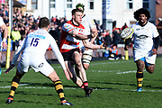 Gloucester fly-half / flanker Jason Woodward passes the ball during the Aviva Premiership match between Gloucester Rugby and Wasps at the Kingsholm Stadium, Gloucester, United Kingdom on 24 February 2018. Picture by Alan Franklin.