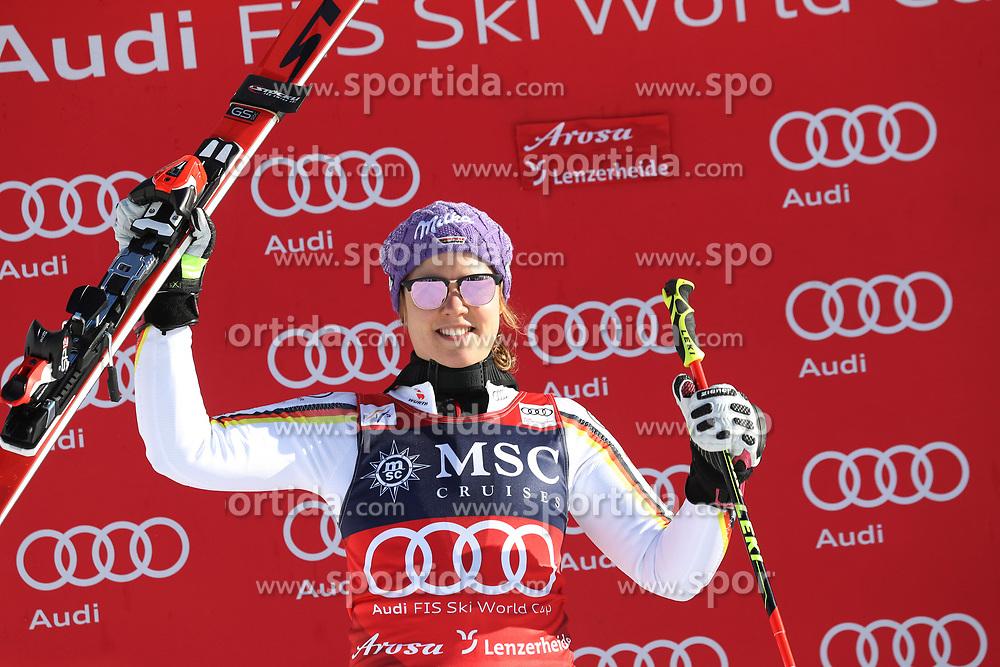 27.01.2018, Lenzerheide, SUI, FIS Weltcup Ski Alpin, Lenzerheide, Riesenslalom, Damen, Flower Zeremonie, im Bild Viktoria Rebensburg (GER) // Viktoria Rebensburg of Germany during the Flowers ceremony for the ladie's Giant Slalom of FIS Ski Alpine World Cup in Lenzerheide, Austria on 2018/01/27. EXPA Pictures © 2018, PhotoCredit: EXPA/ Sammy Minkoff<br /> <br /> *****ATTENTION - OUT of GER*****