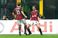 """esultanza di filippo inzaghi  del Milan<br /> Milano 21/3/2010 Stadio """"Giuseppe Meazza""""<br /> Milan Napoli<br /> Campionato di calcio di Serie A 2009/2010<br /> Foto Bibi Insidefoto"""