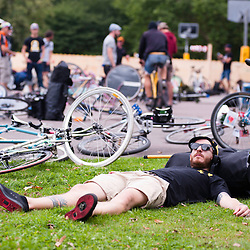London, UK - 24 August 2012: siesta time during the Hell's Belles Vol 2, Ladies Bike Polo Tournament in Bethnal Green Gardens.