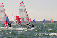 Miami, FL, USA, January 4, 2014 - Sean Brennan and Pere Puig of (USA 1131) and Rhodes Garner and Briggs D'Eliscu (USA 2001) setting spinnakers at the 29er Nationals held at Coconut Grove Sailing Club, Jan 1-4, 2013.