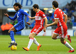 Armand Traore of Cardiff City is challenged by Stewart Downing of Middlesbrough- Mandatory by-line: Nizaam Jones/JMP - 17/02/2018 -  FOOTBALL - Cardiff City Stadium - Cardiff, Wales -  Cardiff City v Middlesbrough - Sky Bet Championship