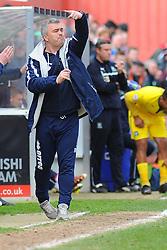 Cheltenham Town Manager, Russell Milton gives orders from the side line - Photo mandatory by-line: Nizaam Jones - Mobile: 07966 386802 - 28/03/2015 - SPORT - Football - Cheltenham - Whaddon Road - Cheltenham Town v Plymouth Argyle - Sky Bet League Two