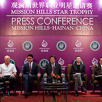 HAIKOU, CHINA - OCTOBER 27:  (L-R) Multiple Olympic gold medalist Michael Phelps of USA, golf legend Greg Norman of Australia, Dr. Ken Chu, Vice Chairman of Mission Hills Group, Zhu Hang Song, leading Chinese film director Feng Xiaogang, famous Chinese actor Chan Dao Ming and Hollywood super star actor Christian Slater of USA attend the opening  press conference of the Mission Hills Star Trophy on October 27, 2010 in Haikou, China. The Mission Hills Star Trophy is Asia's leading leisure liflestyle event and features Hollywood celebrities and international golf stars.  Photo by Victor Fraile / studioEAST