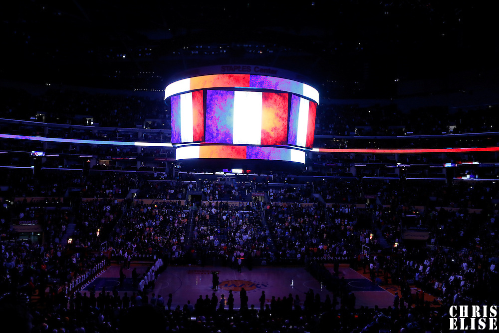 15 November 2015:  France National Anthem is played prior to the Los Angeles Lakers 97-85 victory over the Detroit Pistons, at the Staples Center, Los Angeles, California, USA.