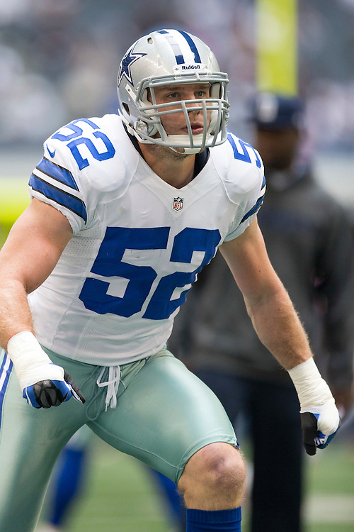 ARLINGTON, TX - NOVEMBER 18:  Dan Conner #52 of the Dallas Cowboys warming up before a game against the Cleveland Browns at Cowboys Stadium on November 18, 2012 in Arlington, Texas.  The Cowboys defeated the Browns 23-20.  (Photo by Wesley Hitt/Getty Images) *** Local Caption *** Dan Conner