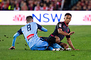 July 13 2017: Arsenal player Cohen Bramall (40) slides after the ball at the International soccer match between English Premier League giants Arsenal and A-League premiers Sydney FC at ANZ Stadium in Sydney.
