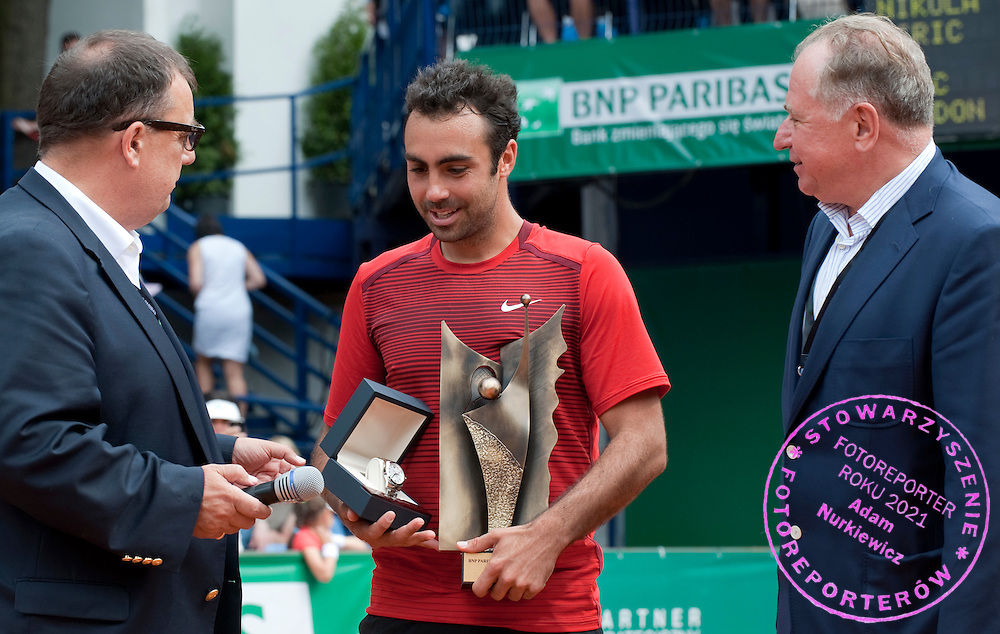 (L) VICTOR ARCHUTOWSKI & (C) ERIC PRODON (FRANCE) & (R) JACEK KSEN AFTER FINAL OF THE MEN'S SINGLES TOURNAMENT BNP PARIBAS POLISH OPEN DAY 7 AT TENNIS CLUB IN SOPOT, POLAND..ERIC PRODON WON THE TOURNAMENT AND TOOK TROPHY...POLAND, SOPOT , JULY 17, 2011..( PHOTO BY ADAM NURKIEWICZ / MEDIASPORT )..PICTURE ALSO AVAIBLE IN RAW OR TIFF FORMAT ON SPECIAL REQUEST.