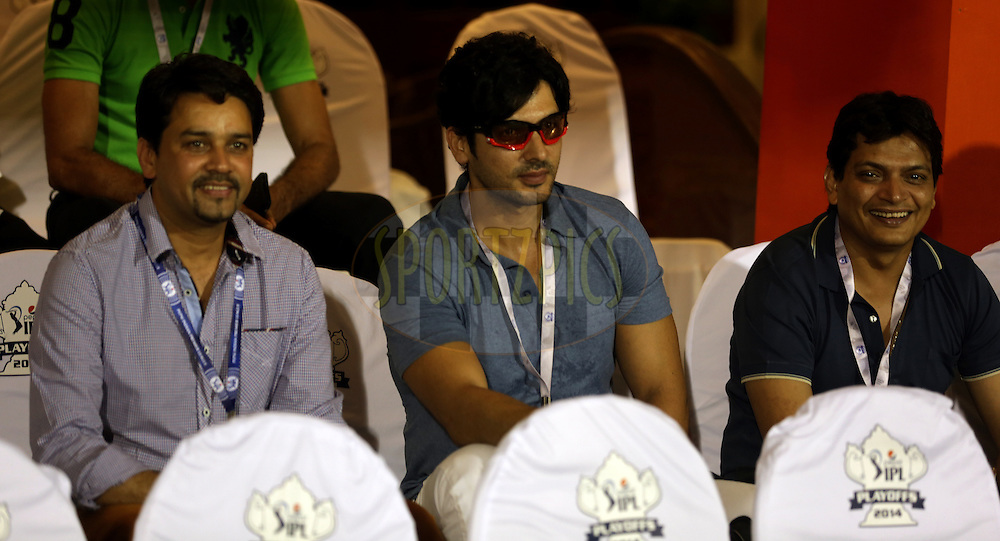 Anurag Thakur BCCI Official and Bollywood Actor Zayed Khan during the eliminator match of the Pepsi Indian Premier League Season 2014 between the Chennai Superkings and the Mumbai Indians held at the Brabourne Stadium, Mumbai, India on the 28th May  2014<br /> <br /> Photo by Sandeep Shetty / IPL / SPORTZPICS<br /> <br /> <br /> <br /> Image use subject to terms and conditions which can be found here:  http://sportzpics.photoshelter.com/gallery/Pepsi-IPL-Image-terms-and-conditions/G00004VW1IVJ.gB0/C0000TScjhBM6ikg
