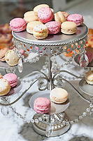 Close-up of macaroons on cake stand