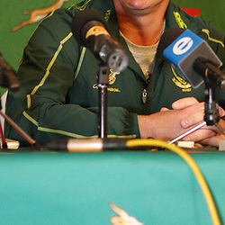 DURBAN, SOUTH AFRICA - JUNE 04, Springbok coach Heyneke Meyer during the South African national rugby team press conference at Kashmir Restaurant on June 04, 2012 in Durban, South Africa<br /> Photo by Steve Haag / Gallo Images