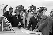 27/05/1962<br /> 05/27/1962<br /> 27 May 1962<br /> Irish Cider and Perry Company Salesmen arrive at Dublin Airport. Forty salesmen flew into Dublin to join the Irish representatives of the Irish Cider and Perry Company in launching the new Irish produced Babycham and Coates' vintage cider throughout Ireland. Both products were made at the newly acquired Bulmers Ltd. factory at Clonmel. The salmon were to visit 10,200 premises. The party arrived from Bristol on an Aer Lingus Charter plane and were assigned a car each. Picture shows Mr Edward Dix (right), General Salesmanager and Mr W.N. Cotter (second from right), Sales Manager for Ireland (Clonmel), briefing R.G. Dyer; M.J. Penally and J.A.C.  Moult, who toured the Kerry area.