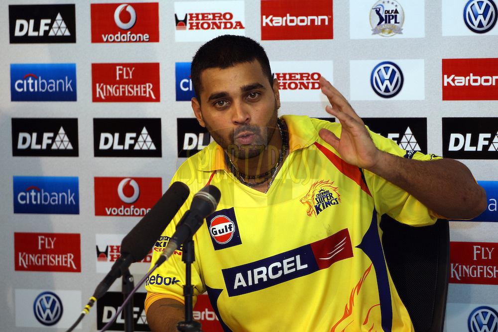 Murali Vijay during thye press conference after the final of the Indian Premier League ( IPL ) Season 4 between the Chennai Superkings and the Royal Challengers Bangalore held at the MA Chidambaram Stadium in Chennai, Tamil Nadu, India on the 28th April 2011..Photo by Jacques Rossouw/BCCI/SPORTZPICS