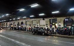 Commuters queue at a taxi rank at Waterloo Station  after worker's strikes delay the opening of the tube service in London.<br /> Wednesday, 5th February 2014. Picture by Ben Stevens / i-Images