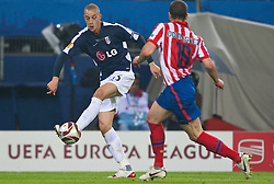 12.05.2010, Hamburg Arena, Hamburg, GER, UEFA Europa League Finale, Atletico Madrid vs Fulham FC im Bild Bobby Zamora, #25, Fulham FC, Alvaro Dominguez, #18, Atletico Madrid, EXPA Pictures © 2010, PhotoCredit: EXPA/ J. Feichter / SPORTIDA PHOTO AGENCY