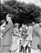 02/08/1960<br /> 08/02/1960<br /> 02 August 1960<br /> R.D.S Horse Show Dublin (Tuesday).Chatting at the Horse Show, Lady Perchita Blackwood (left) and friends, Miss P. Spicer, Carrew Castle, Co. Wicklow and Mrs Barbara Urguhart, (England.