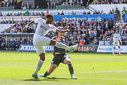 Leroy Fer of Swansea City has a shot during the Premier League match between Swansea City and West Bromwich Albion at the Liberty Stadium, Swansea, Wales on 21 May 2017. Photo by Andrew Lewis.