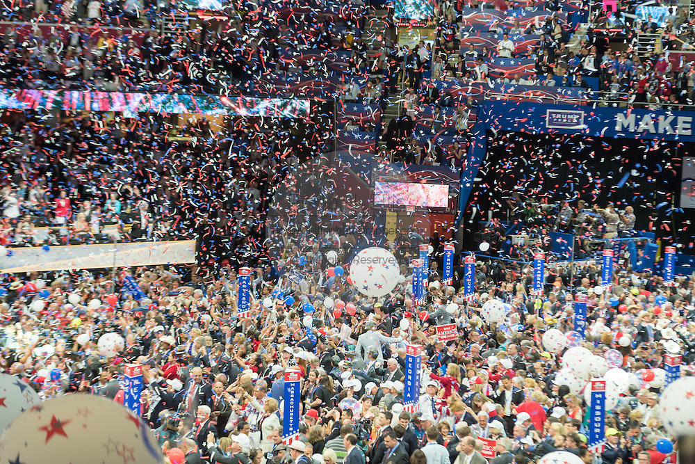 GOP delegates celebrate as balloons and confetti drop after after Presidential candidate Donald Trump accepted the party nomination for president on the final day of the Republican National Convention July 21, 2016 in Cleveland, Ohio.