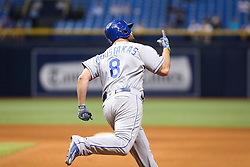 May 9, 2017 - St. Petersburg, Florida, U.S. - WILL VRAGOVIC   |   Times.Kansas City Royals third baseman Mike Moustakas (8) with the go ahead home run in the twelfth inning of the game between the Kansas City Royals and the Tampa Bay Rays at Tropicana Field in St. Petersburg, Fla. on Tuesday, May 9, 2017. (Credit Image: © Will Vragovic/Tampa Bay Times via ZUMA Wire)