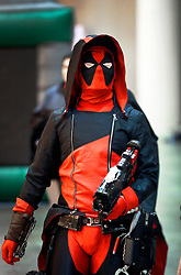 10 January 2015. New Orleans, Louisiana. <br /> Scenes from the Wizard World New Orleans Comic Con 2015 at the Morial Convention Center. Darth Maul wanders through the crowd.<br /> Photo; Charlie Varley/varleypix.com