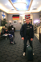 Andrej Hocevar at Slovenian National team packing and going from Citadel Hotel to the Halifax airport, when they finished with games at IIHF WC 2008 in Halifax, on May 11, 2008, Canada. (Photo by Vid Ponikvar / Sportal Images)
