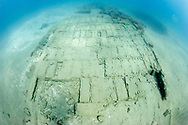 Wooden boxes line the hull of the submerged 17th century shipwreck Encarnación, a cargo vessel that was part of the Spanish Tierra Firme fleet and was found in the waters near Colon, Panama.  The shipwreck was discovered while searching for Captain Henry Morgan's lost fleet of 1671.