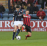 Dundee's Paul McGinn is challenged by St Johnstone's Michael O'Halloran -  Dundee v St Johnstone, SPFL Premiership at Dens Park<br /> <br />  - &copy; David Young - www.davidyoungphoto.co.uk - email: davidyoungphoto@gmail.com