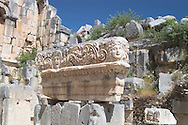 Stone carvings in the ruins at the ancient<br /> Lycian city of Myra, south coast, Turkey<br /> c. Ellen Rooney