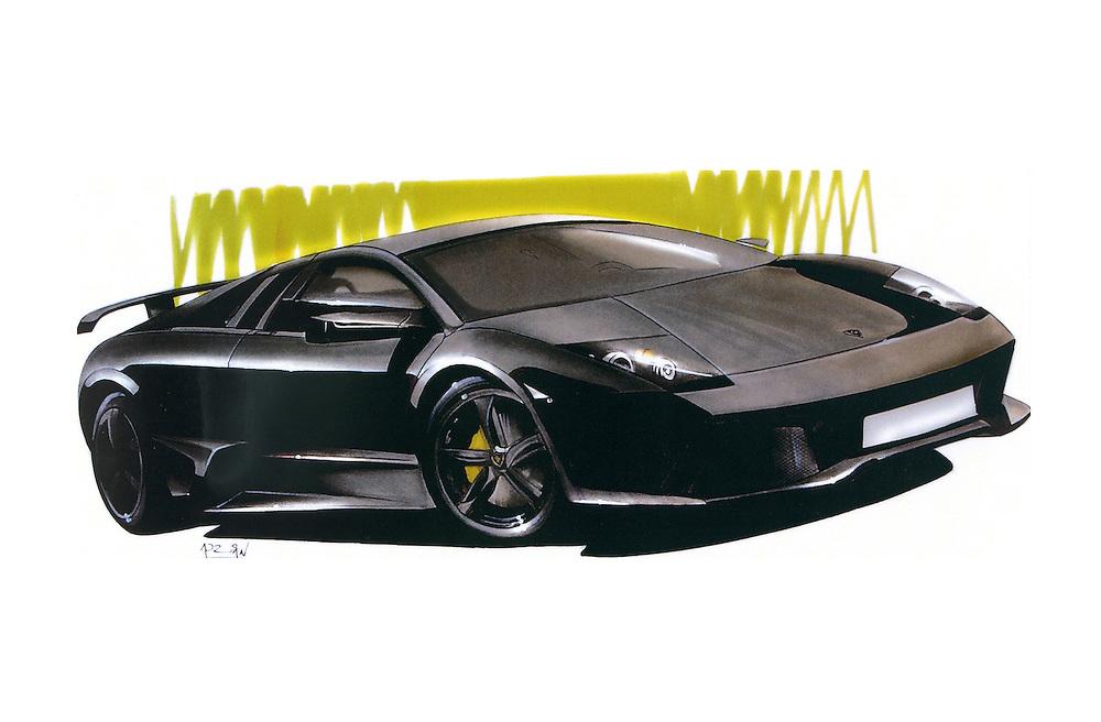 Lamborghini Murcielago car art marker drawing by Adrian Dewey. markers on paper.