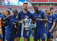 Football - 2018 FA Cup Final - Chelsea vs. Manchester United<br /> <br /> Ngolo Kante (Chelsea FC), Oliver Giroud (Chelsea FC) and Tiemoue Bakayoko (Chelsea FC)  pose with the FA Cup at Wembley Stadium.<br /> <br /> COLORSPORT/DANIEL BEARHAM