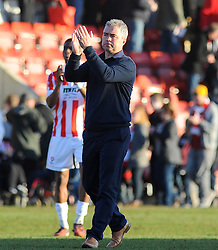 Cheltenham Town Manager, Russell Milton applauds fans after the final whistle - Photo mandatory by-line: Nizaam Jones  - Mobile: 07966 386802 - 07/03/2015 - SPORT - Football - Cheltenham - Whaddon Road- Cheltenham Town v Mansfield - Sky Bet League Two