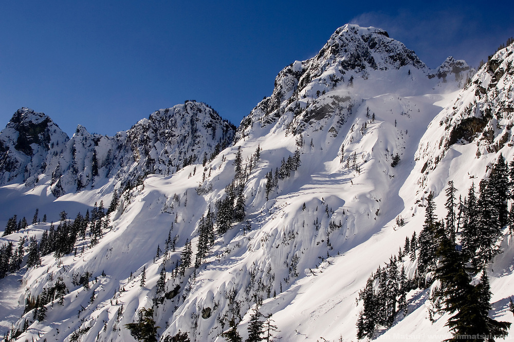 Windswept winter peaks near Snoqualmie Pass, Washington.
