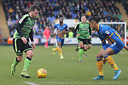 Graham Carey of Plymouth Argyle (10) takes on Max Lowe of Shrewsbury Town (3) during the EFL Sky Bet League 1 match between Shrewsbury Town and Plymouth Argyle at Greenhous Meadow, Shrewsbury, England on 10 February 2018. Picture by Mick Haynes.
