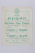 Interprovincial Railway Cup Football Cup Final,  17.03.1962, 03.17.1962, 17th March 1962, referee S O Mairtin , Leinster 1-11, Ulster 0-11, .Interprovincial Railway Cup Hurling Cup Final,  17.03.1962, 03.17.1962, 17th March 1962, referee C O Dublainn, Leinster 1-11, Munster 1-09,.