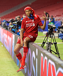 MADRID, SPAIN - SATURDAY, JUNE 1, 2019: Liverpool's Rhian Brewster bites his winners' medal after the UEFA Champions League Final match between Tottenham Hotspur FC and Liverpool FC at the Estadio Metropolitano. Liverpool won 2-0 tp win their sixth European Cup. (Pic by David Rawcliffe/Propaganda)