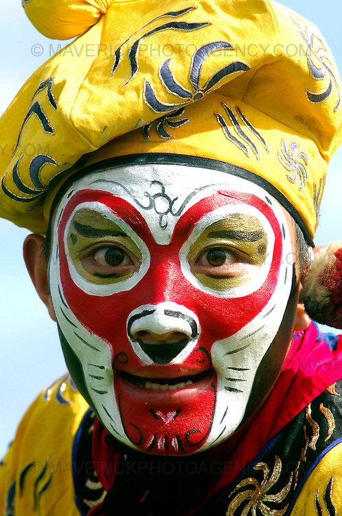 """EDINBURGH, UK - 4th August 2010: Chinese State Circus performers rehearse ahead of their opening night show """"Mulan"""" on Friday 6th August at the Big Top at Ocean Terminal in Edinburgh...Picture shows the Monkey King...(Photograph: Richard Scott/MAVERICK)"""