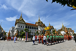 A handout photo made available by the Committee on Public Relations for the Coronation of King Rama X, shows Thai royal guards marching during the transfer of the Royal Golden Plaque of the official title of the King, the Royal Golden Plaque of King's horoscope, and the Royal Seal of State from the temple of the Emerald Buddha to Baisal Daksin Throne Hall, as part of the King's coronation ceremony, inside the Royal palace in Bangkok, Thailand, 03 May 2019. The three-day ancient elaborate traditional coronation ceremony of Thai King Maha Vajiralongkorn Bodindradebayavarangkun, also known as King Rama X, is scheduled for 04 to 06 May 2019. The coronation is a formal ceremony to complete the monarch's accession to the throne. Editorial use only. Photo by Committee On Public Relations Fo Handout/ABACAPRESS.COM