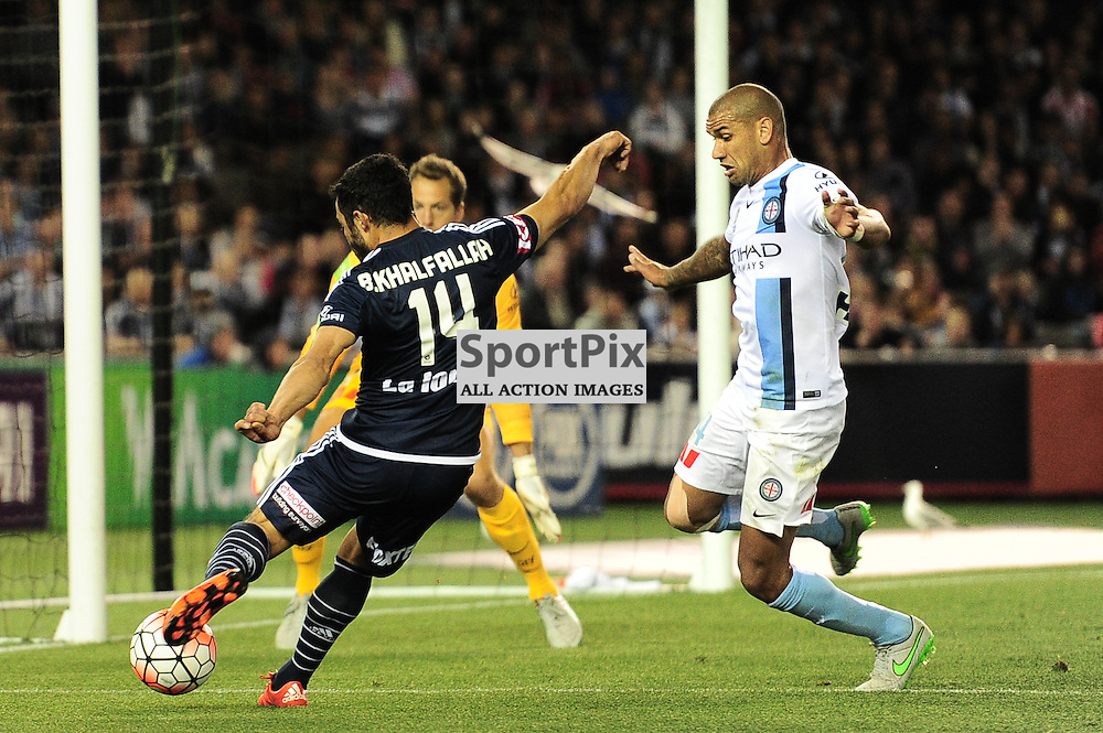 """Fahid Ben Khalfallah of Melbourne Victory, Patrick Kisnorbo of Melbourne City - Hyundai A-League - October 17th 2015 - ROUND 2- Melbourne Victory FC v Melbourne City FC in the first derby for the 2015 season with a 3:2 win to Victory on the 90"""" - © Mark Avellino 