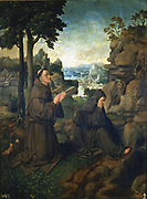 St Francis of Assisi and another Franciscan monk in the desert. Joachim D Patinir (c1490-c1524), Flemish artist. Prado, Madrid.