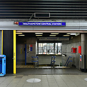 During the coronavirus in UK lockdown empty underground at Walthamstow Square,on 28 March 2020 London.