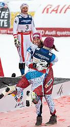 10.02.2017, St. Moritz, SUI, FIS Weltmeisterschaften Ski Alpin, St. Moritz 2017, alpine Kombination, Damen, Flower Zeremonie, im Bild v.l. Michelle Gisin (SUI, Silbermedaille Alpine Kombination der Damen), Wendy Holdener (SUI, Weltmeister und Goldmedaille Alpine Kombination der Damen), Michaela Kirchgasser (AUT, Bronzemedaille Alpine Kombination der Damen) // f.l. ladie's Alpin Combined Silver medalist Michelle Gisin of Switzerland ladie's Alpin Combined Goldmedalist and World Champion Wendy Holdener of Switzerland ladie's Alpin Combined bronze medalist Michaela Kirchgasser of Austria during the Flowers ceremony for the ladie's Alpine combination of the FIS Ski World Championships 2017. St. Moritz, Switzerland on 2017/02/10. EXPA Pictures © 2017, PhotoCredit: EXPA/ Johann Groder