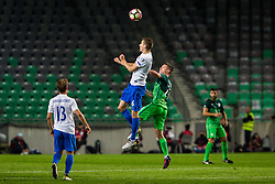 Jan Gregus of Slovakia and Benjamin Verbic of Slovenia during football match between National teams of Slovenia and Slovakia in Round #2 of FIFA World Cup Russia 2018 qualifications in Group F, on October 8, 2016 in SRC Stozice, Ljubljana, Slovenia. Photo by Ziga Zupan / Sportida