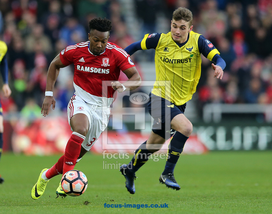 Adama Traore (l) of Middlesbrough and Ryan Ledson of Oxford United during the FA Cup match at the Riverside Stadium, Middlesbrough<br /> Picture by Simon Moore/Focus Images Ltd 07807 671782<br /> 18/02/2017