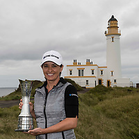 Picture by Christian Cooksey/CookseyPix.com.<br /> Ricoh Women's British Open. The 2014 champion Mo Martin from the USA with the trophy she won last year. The world's best female golfers are heading to Trump Turnberry in Ayrshire this week for the Ricoh Women's British Open which starts on Thursday. Repro fee payable. Credit CookseyPix.com