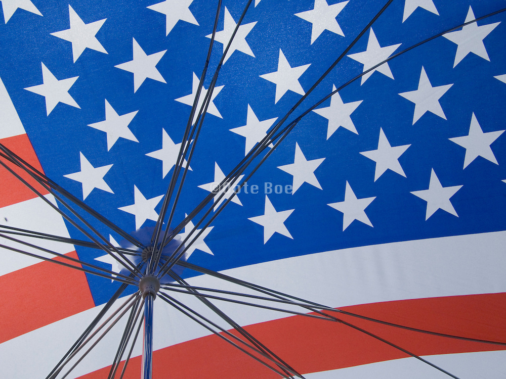 inside of an American flag umbrella