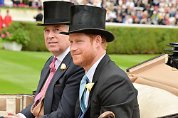 Left to right, HRH The DUKE OF YORK and HRH PRINCE HARRY at day one of the Royal Ascot 2016 Racing Festival at Ascot Racecourse, Berkshire on 14th June 2016.